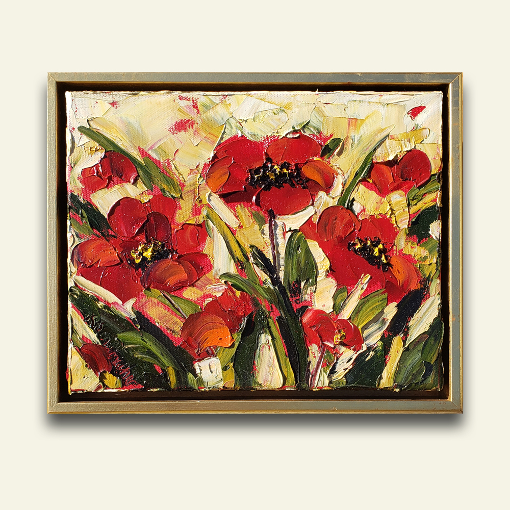 Glorious Reds 10×12 hung medium