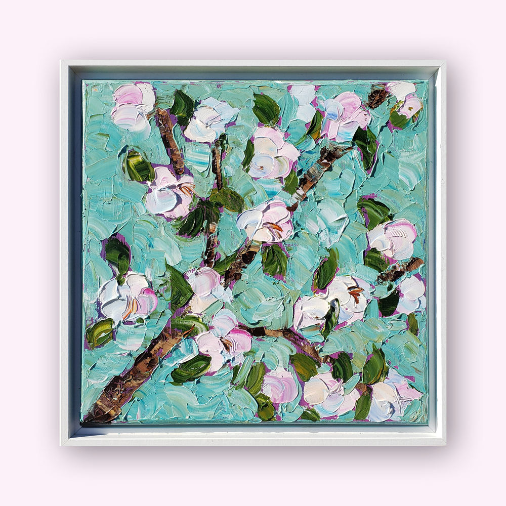 Pink Blossoms medium 14×14 hung