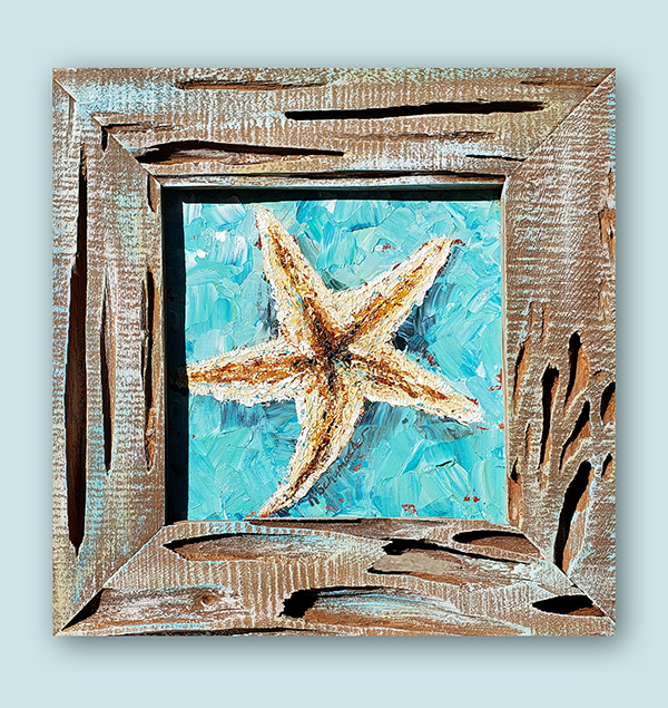Starry Blue – 13×13 framed in cypress-resized