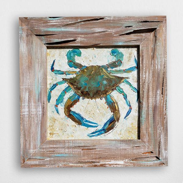 Blue Symmetry 20×20 small framed hung