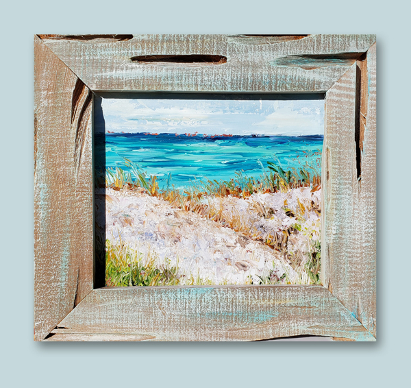 Beach Harmony framed hung small 14×15