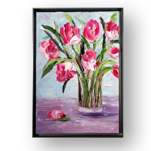 Magenta Tulips framed 17×12 hung small