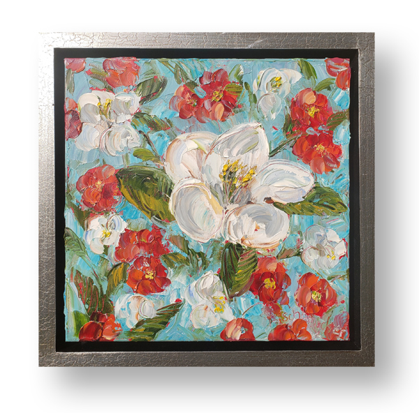 Oriental Blossoms 14×14 hung small