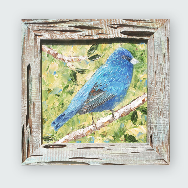Perched in Blue 16×16 hung SMALL