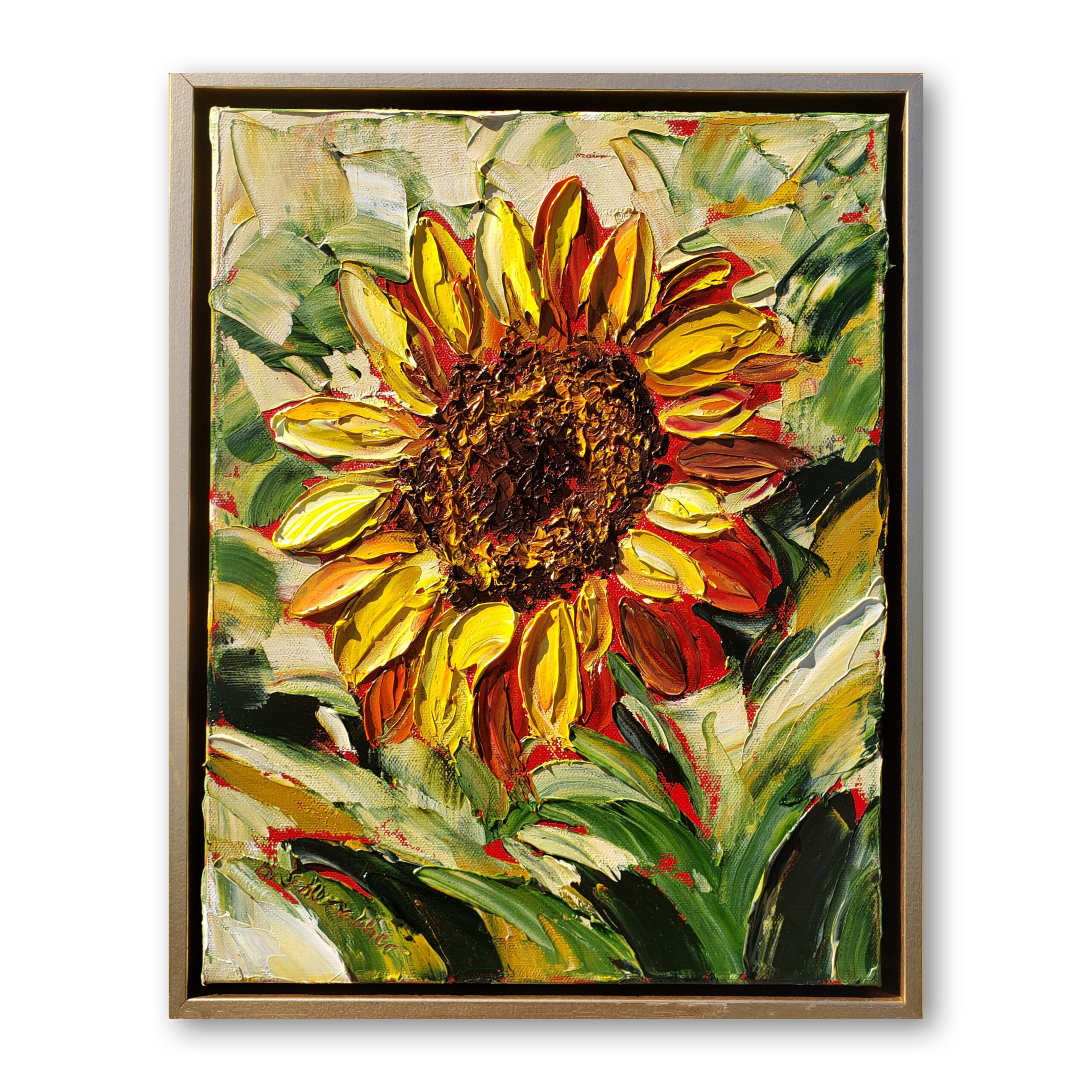 vibrant sunflower 16×13 framed and hung