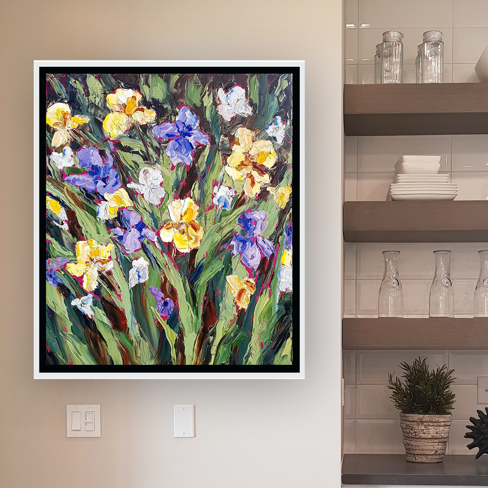 Iris Illusions 26×22 hung low res