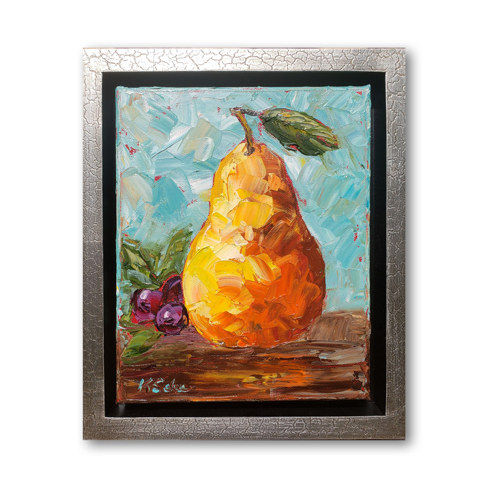 Pear and Grapes framed hung 12×10 for web