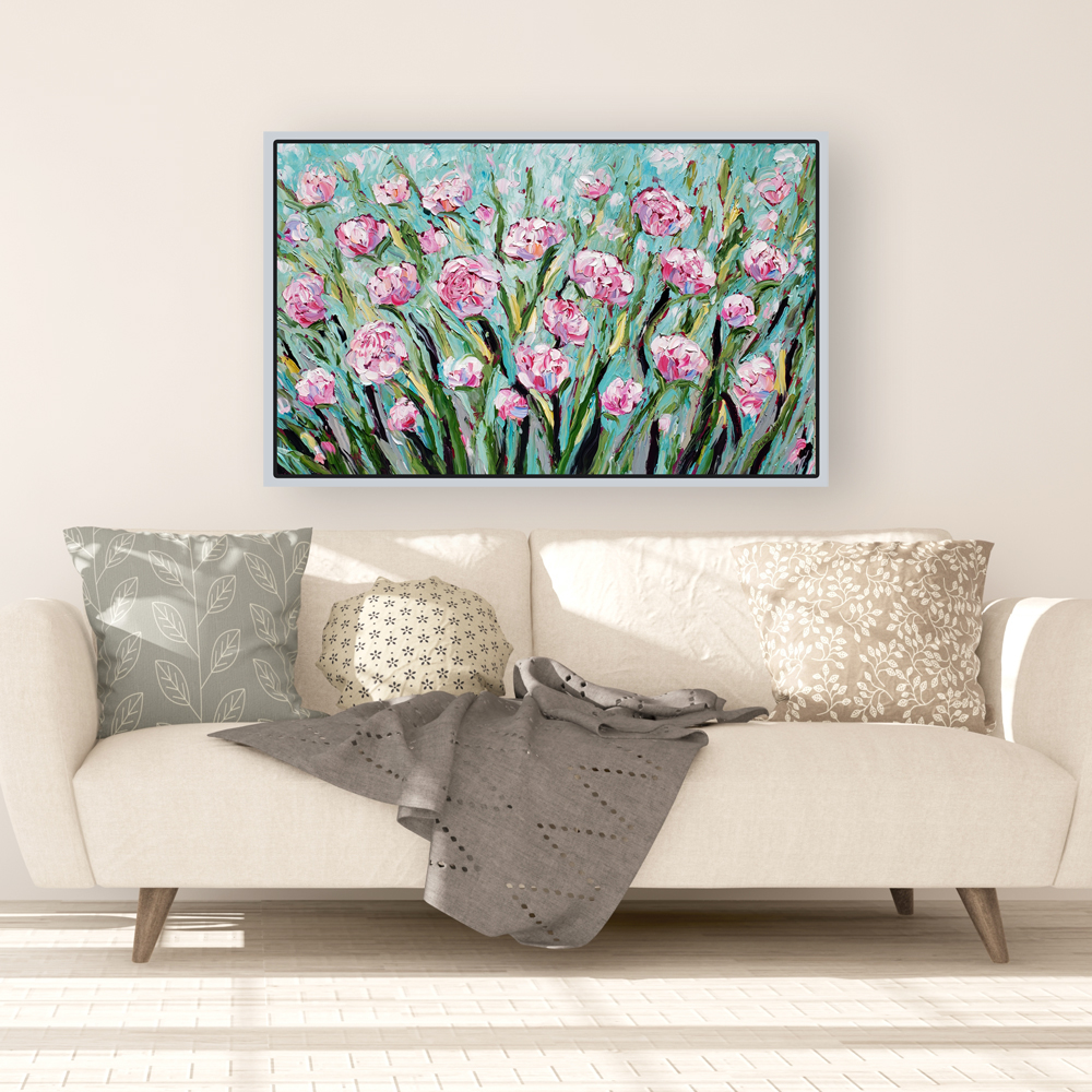 Peony Splendor 30×48 hung for web