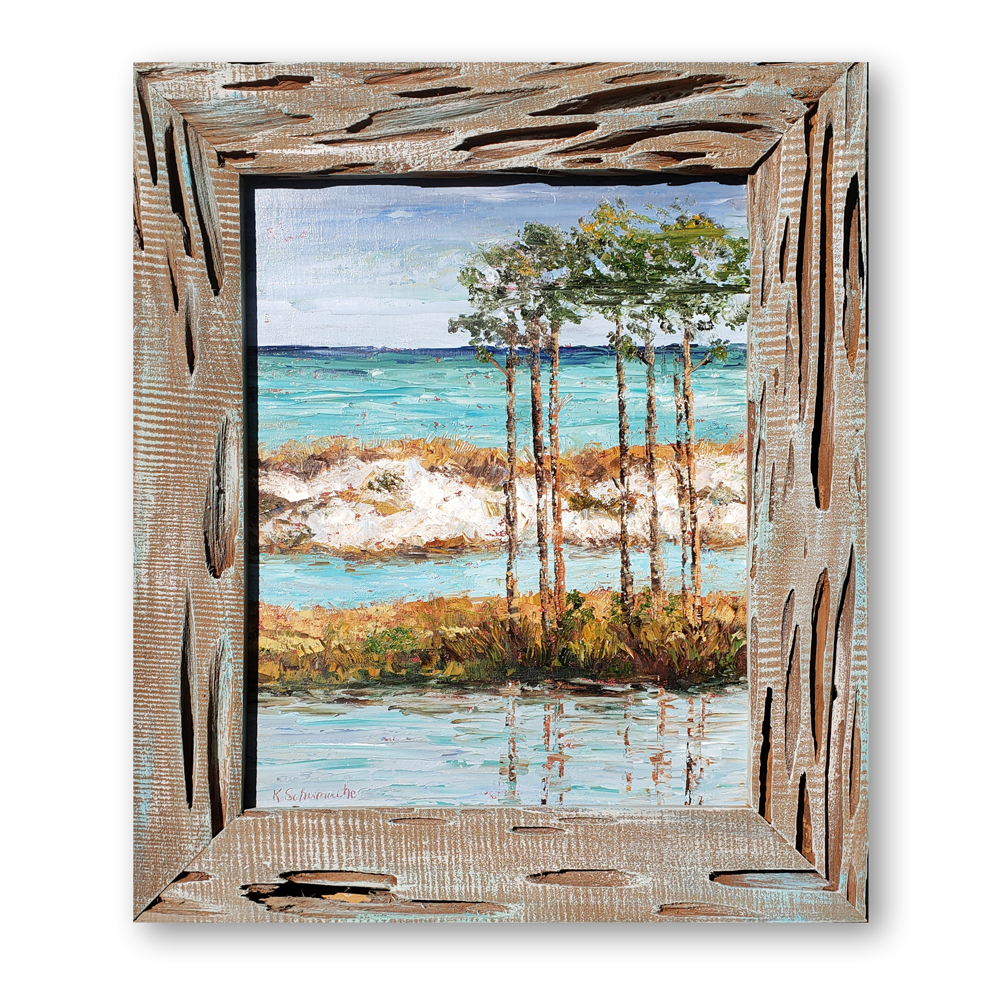 Pine view framed hung 32×23 white wall low res