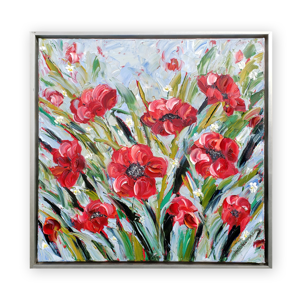 Poppy Pleasure 24×24 hung low res