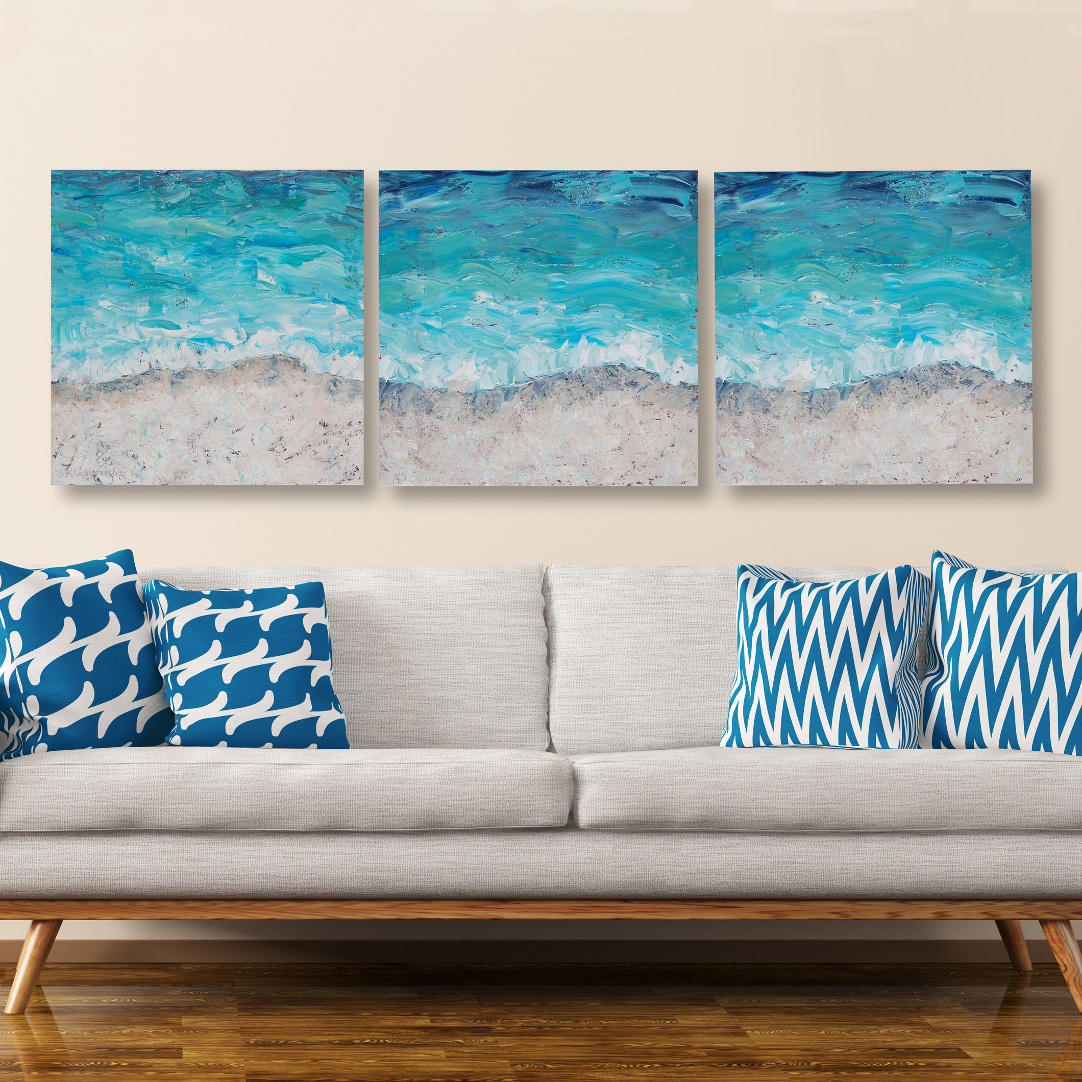 Seashore triptych hung 24×80 for web