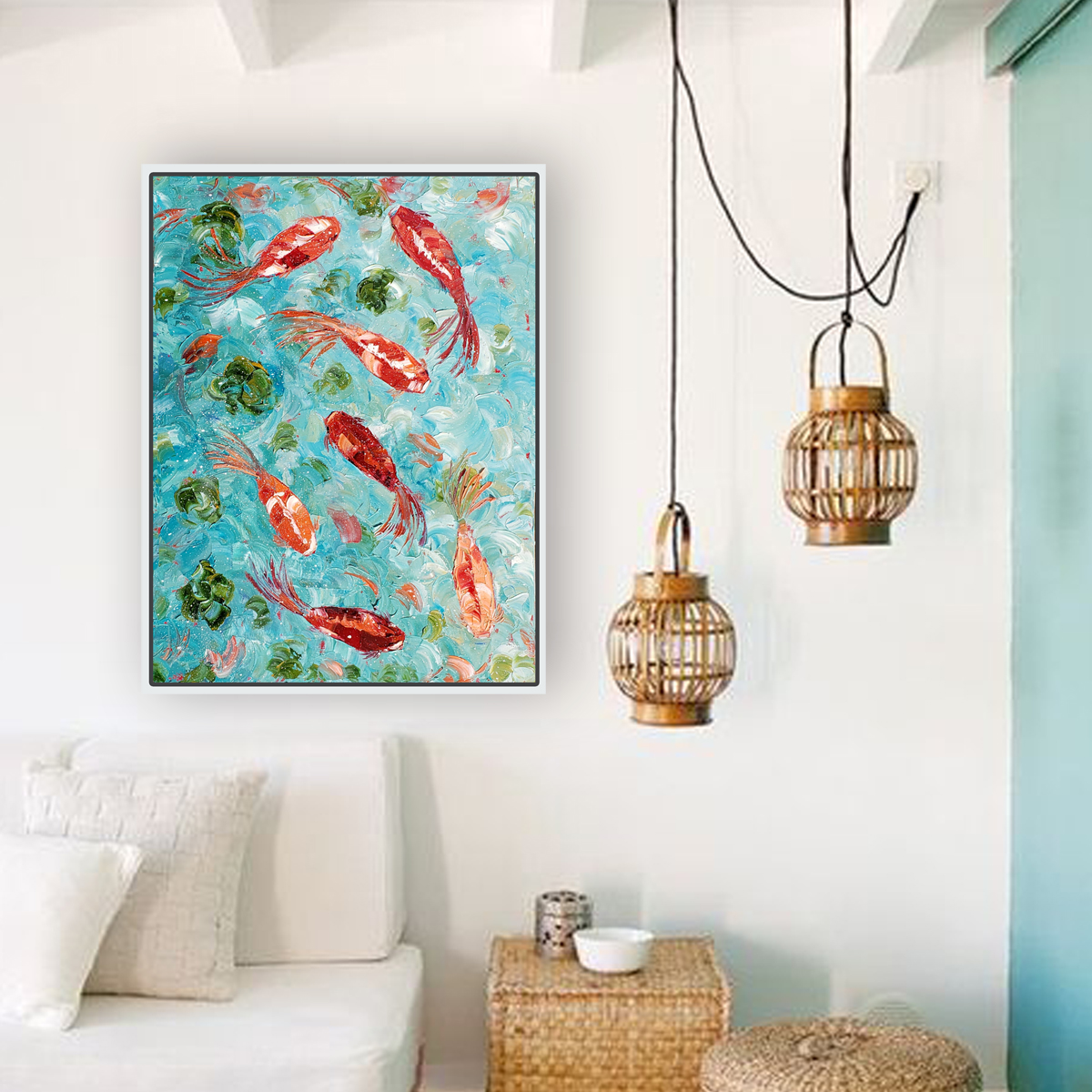 ornamental koi 40×30 hung vertical for web