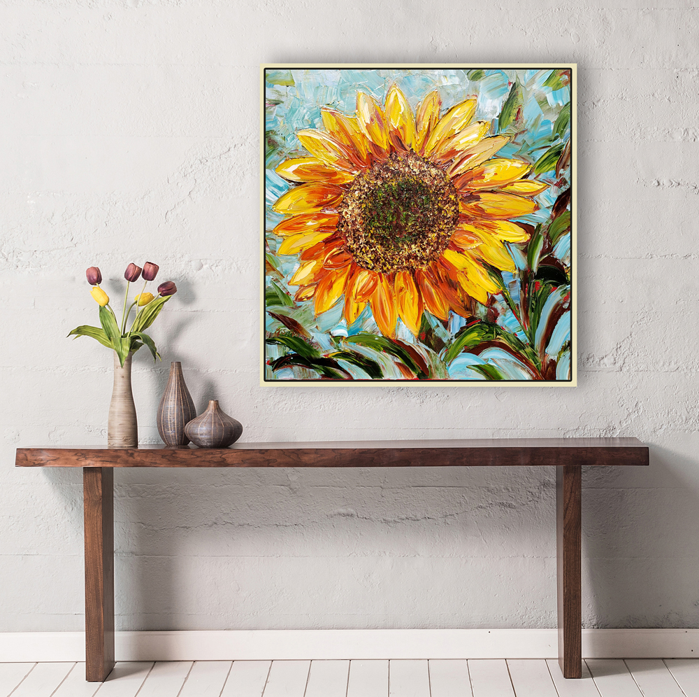 sunflower bloom 24×24 hung for web