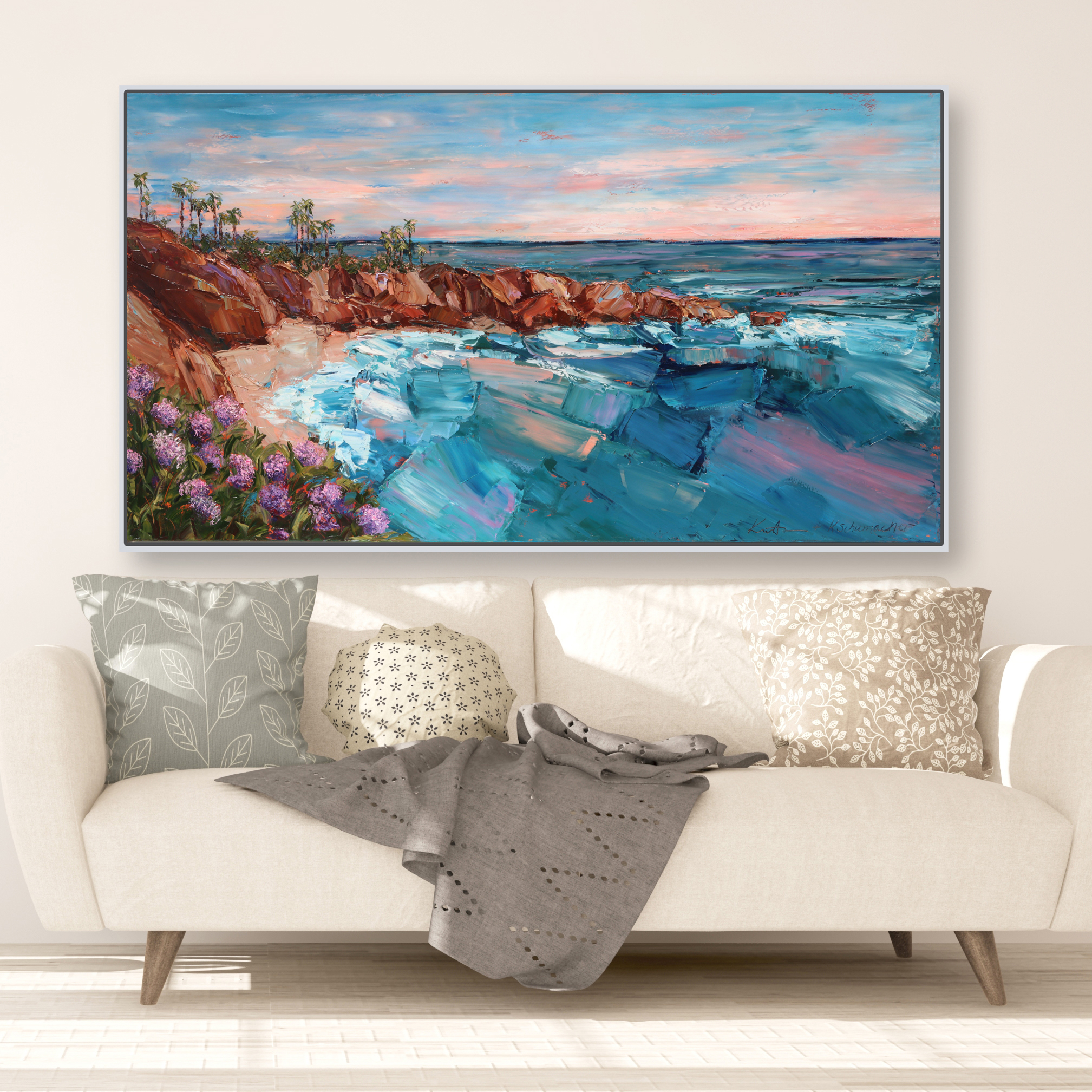 Coastal California 42×74 framed and hung over couch for web