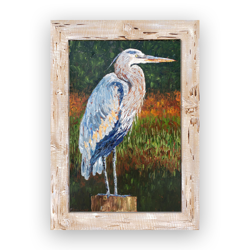 Stately Heron 44×31 hung on white for web