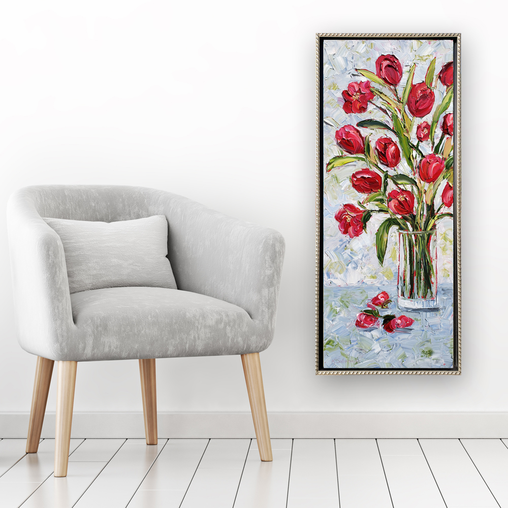 tulips in red 42×18 hung for web