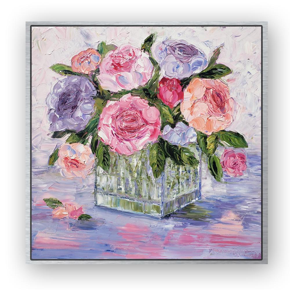 Peony Vase 26×26 framed on white back for web