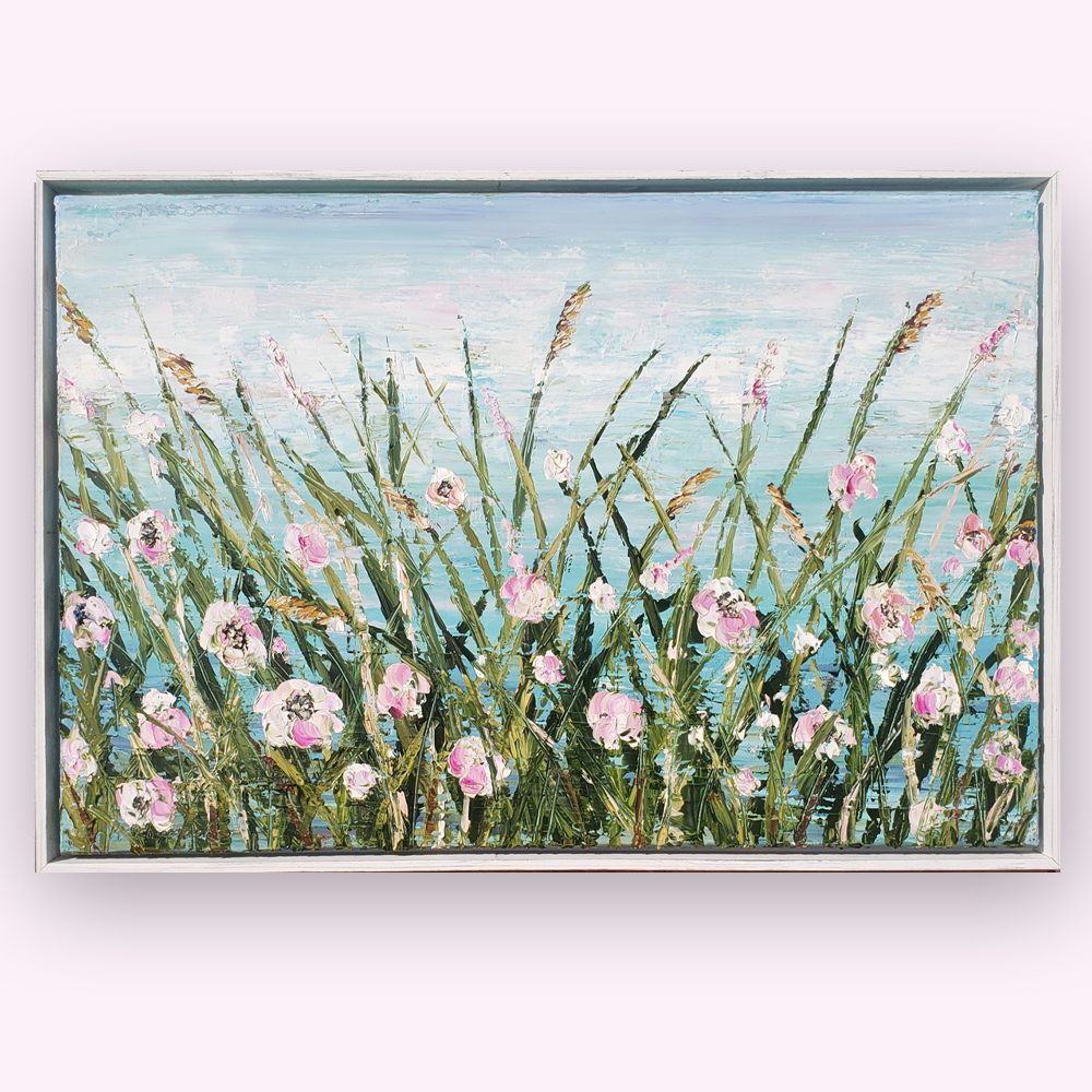 Turquoise Tranquility in Bloom 26×38 hung low res