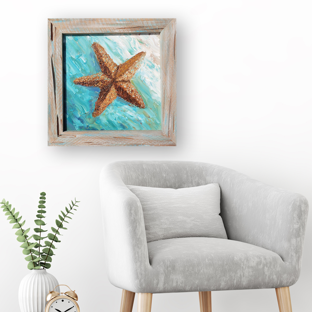 Surf Starfish framed in cypress hung for web 18×18