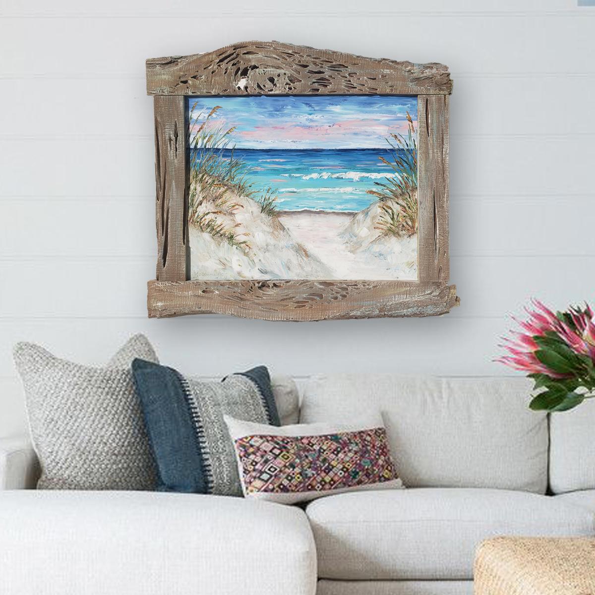 Shoreline Splendor 36×39 hung low