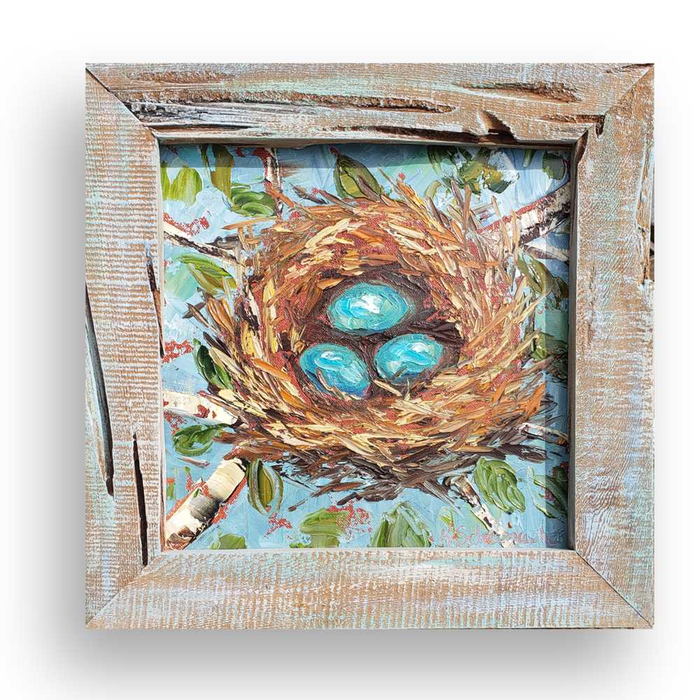 The Nest framed on background low