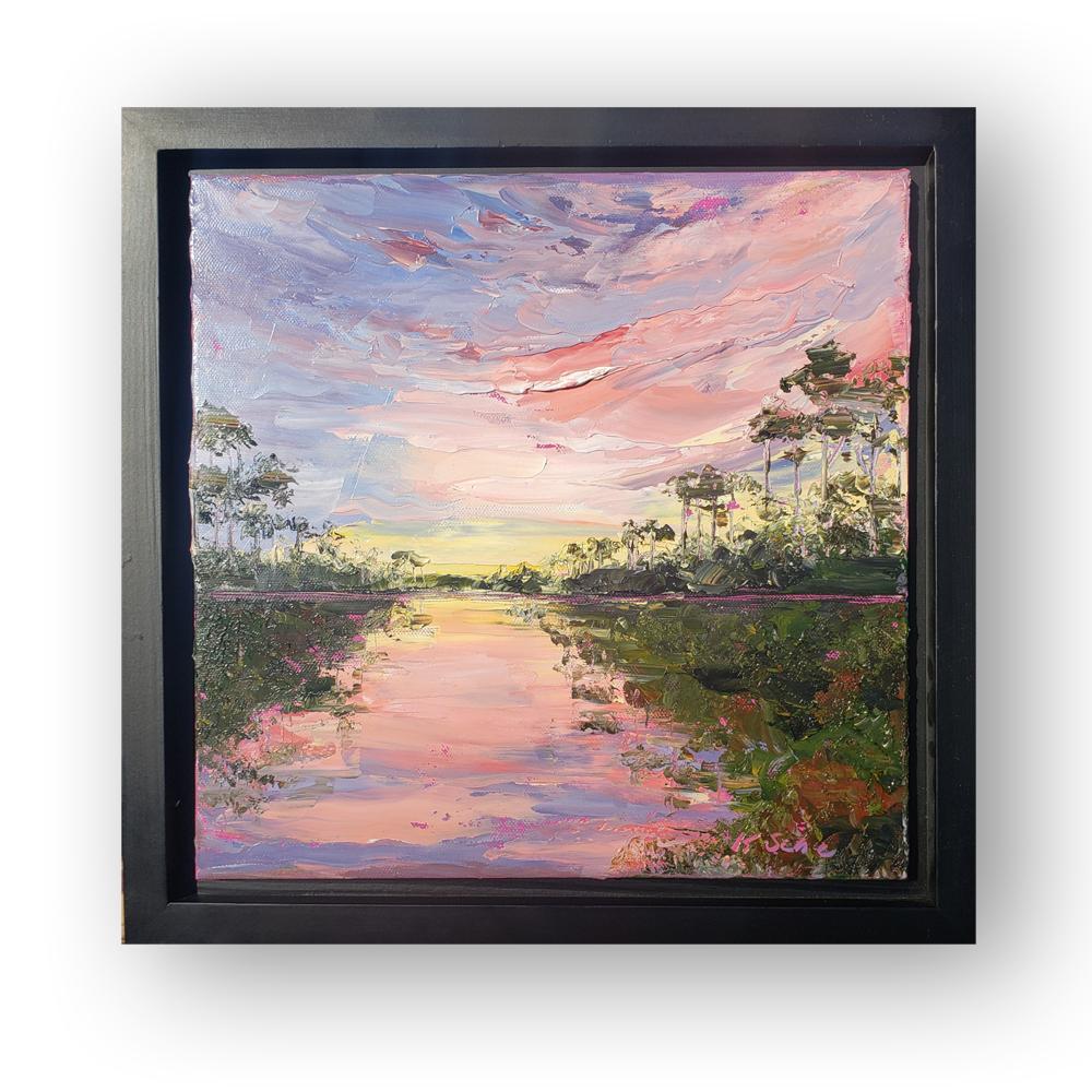 bayou sunset framed 14×14 low on BG