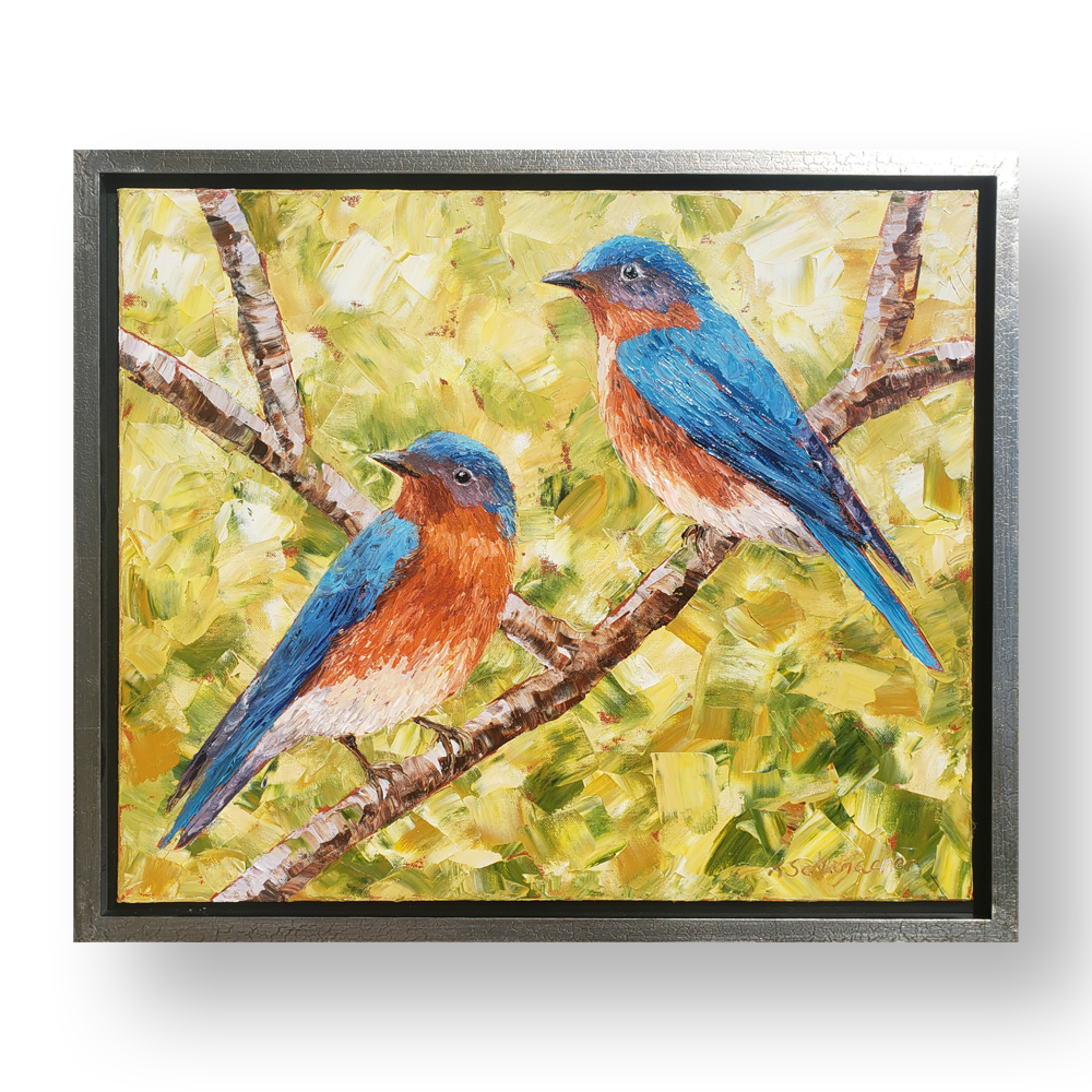 bluebirds of happiness framed 22×26 web on background