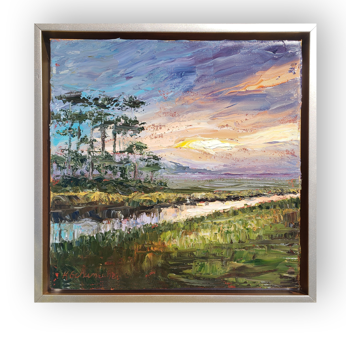 sunset over turkey creek 14×14 on background low