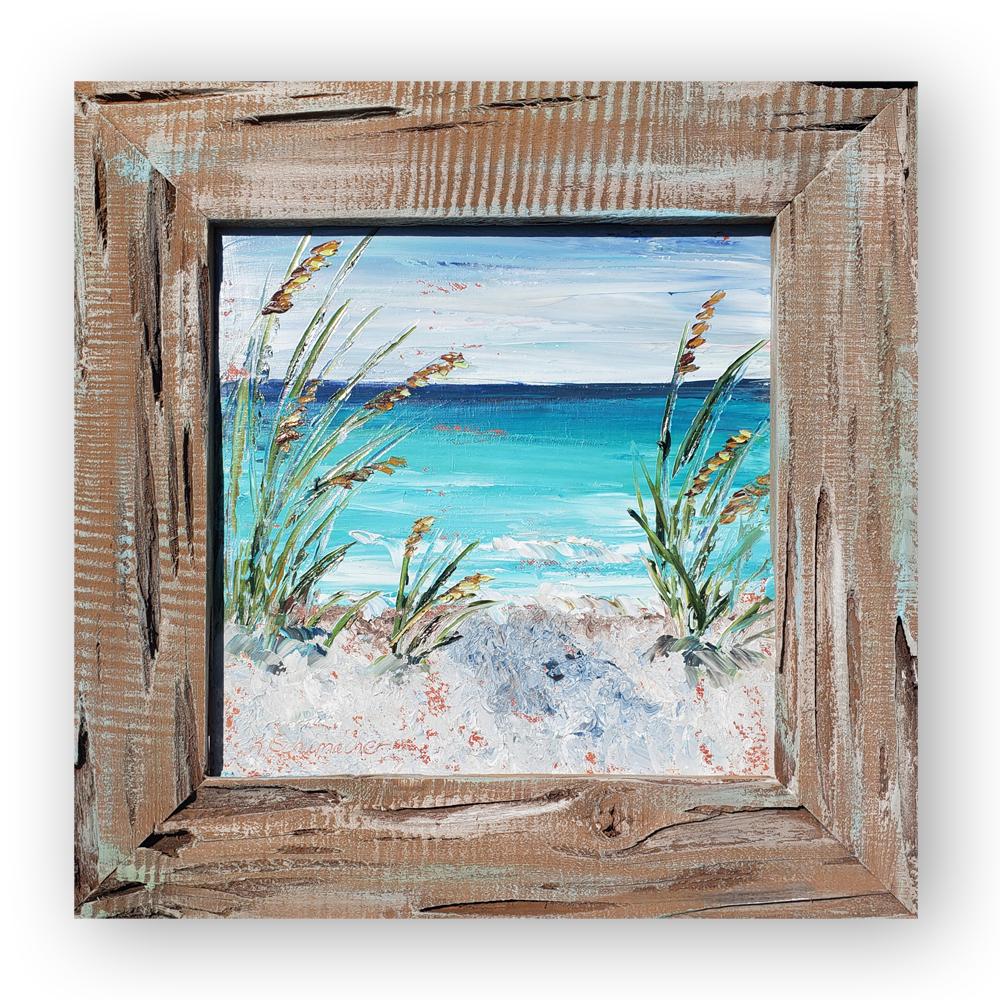 Beach Oats 17×17 framed low on backg