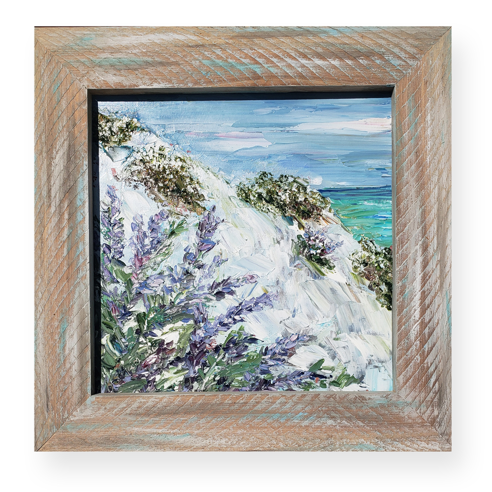Blue Lupine 16×16 framed on background low