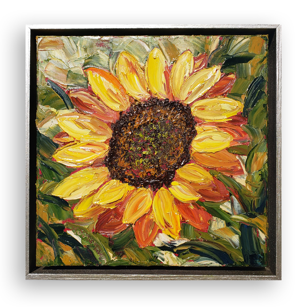 sunflower in gold framed 14×14 low on background