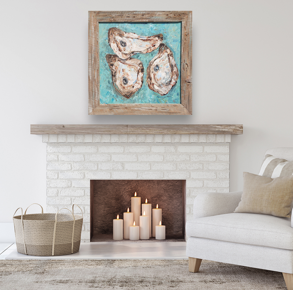 Just Oysters 38×38 hung