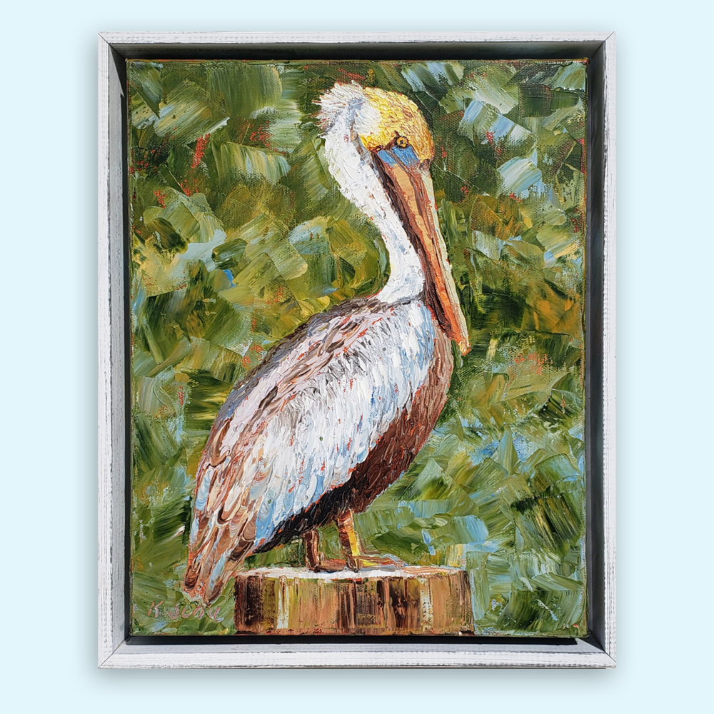 Pelican Perch 16×13 framed on background low