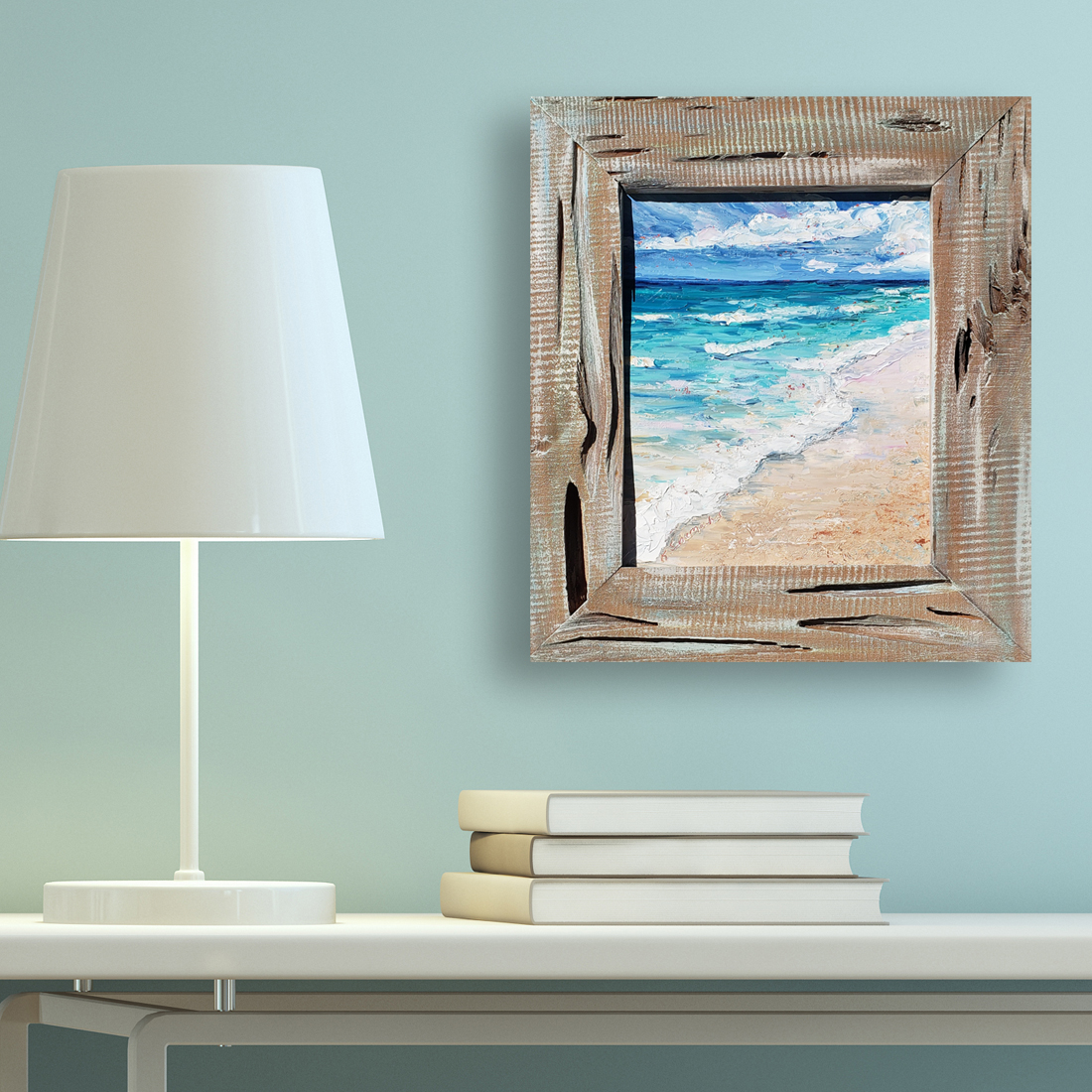 Emerald Waves 21×18 framed low hung