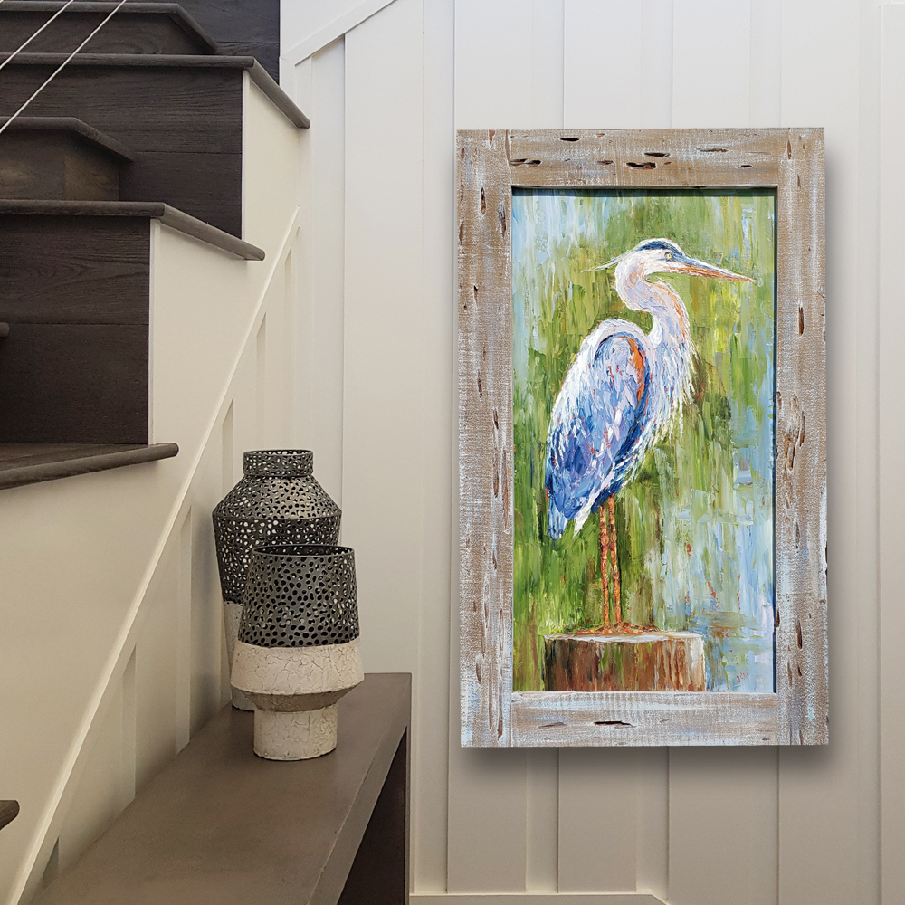 Great Blue Heron framed hung low 39×24