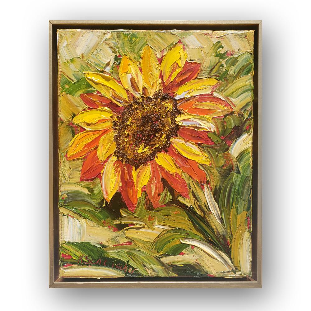 Sunflower Sister- L framed on background low 16×13